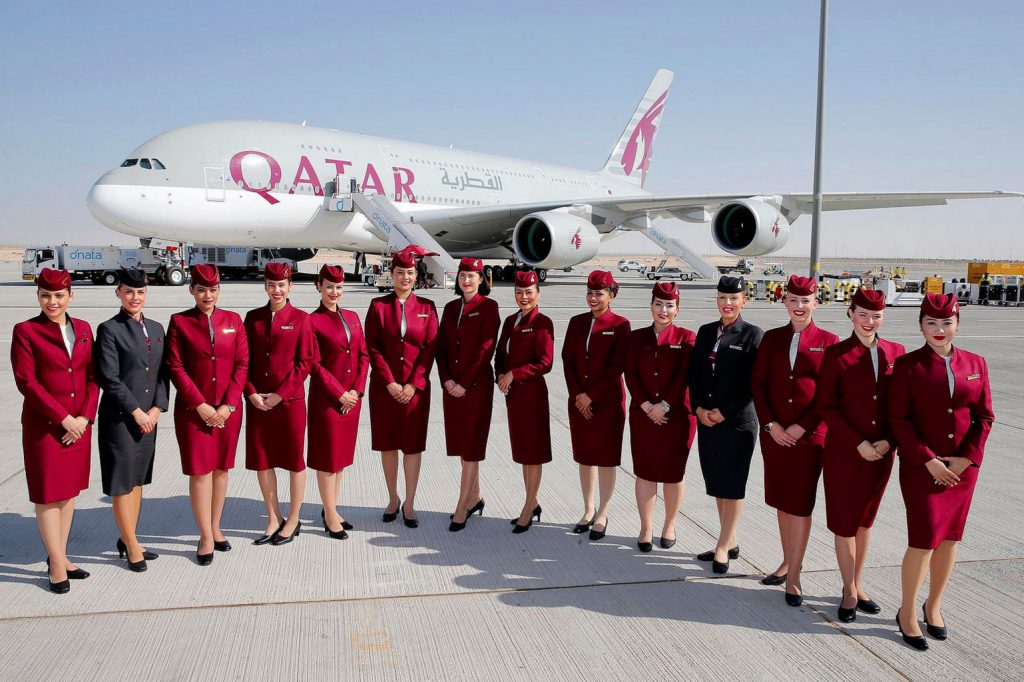 International airlines in Nigeria: Qatar airplane and hostesses